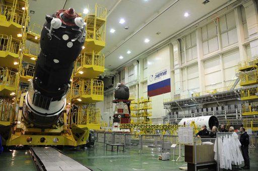 Progress MS & next Soyuz TMA spacecraft during Processing - Photo: RSC Energia