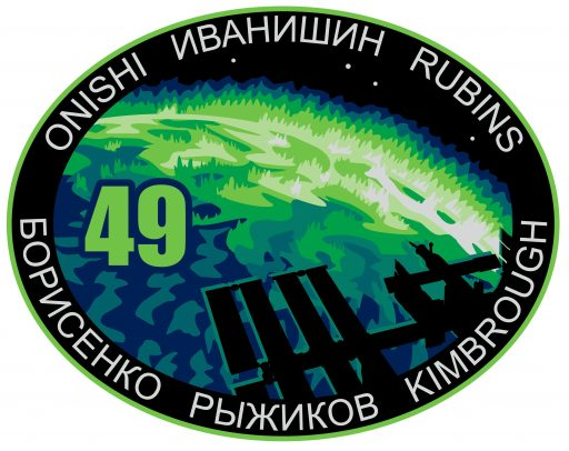 The International Space Station Expedition 49 crew patch features an original design by graphics artist Cindy Bush at NASA's Johnson Space Center, prominently featuring the orbital complex flying across a powerful display of Earth's aurora.