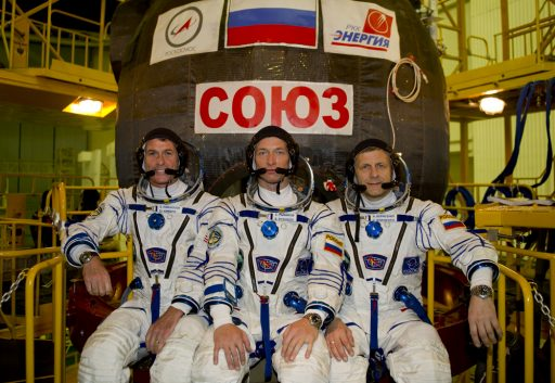 The Expedition 49/50 Crew in front of their Soyuz Spacecraft - Photo: Gagarin Cosmonaut Training Center