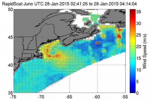 RapidScat detected the nor'easter's strongest sustained winds (red) between 90 & 108 km/h just off-shore from eastern Cape Cod - Image: NASA/JPL/Doug Tyler