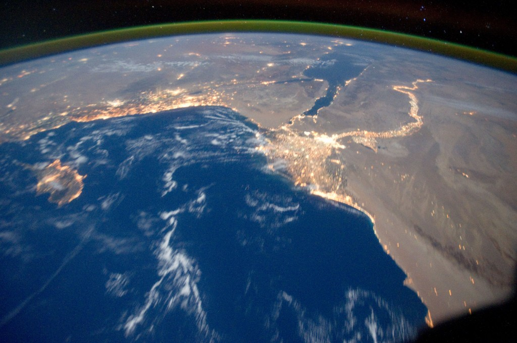 Mediterranean Sea Area at Night