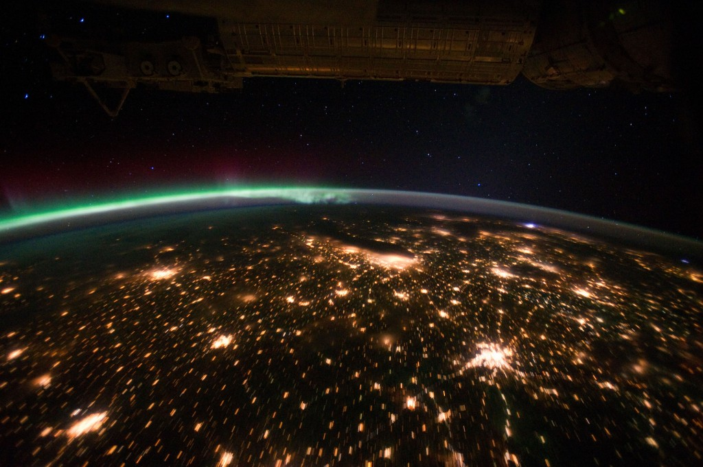 Midwestern U.S. at Night With Aurora Borealis