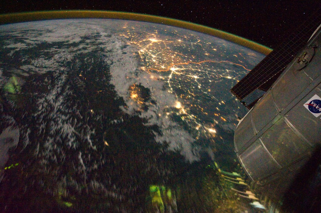 Night View of India-Pakistan Borderlands