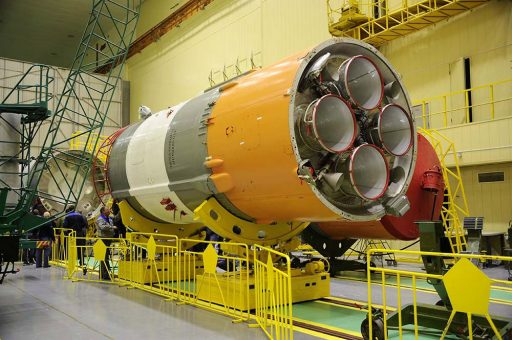 Block I Stage during assembly of the Soyuz Rocket - Photo: RSC Energia