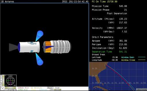 Cygnus Separation Parameters - Image: NASA TV