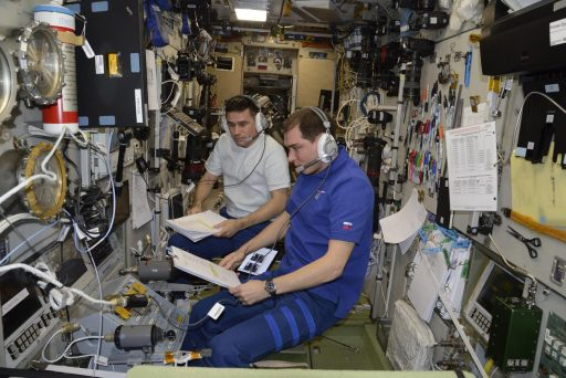 Cosmonauts standing by on the TORU System during Progress MS Docking