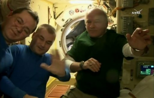The departing crew members before boarding their Soyuz - Photo: NASA TV