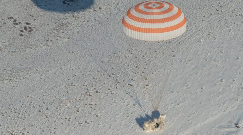 Soyuz Capsule Lands on Frozen Kazakh Steppe with Three-Man Crew from Russia, U.S. & Italy