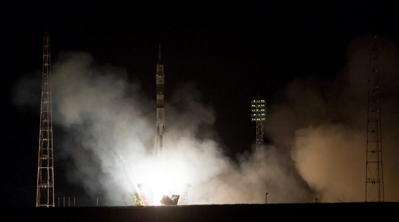 Nighttime Soyuz Launch Sends All-Veteran Crew Trio into Orbit for 160-Day Space Station Mission