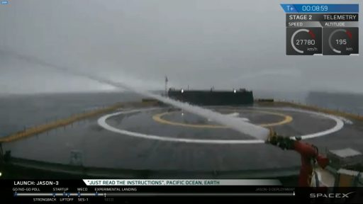 Evidence of rough sea conditions was seen in the live vdeo feed from the Landing Platform - Photo: SpaceX