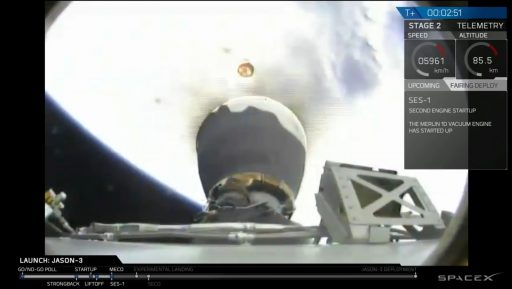 Stage Separation and MVac Ignition - Photo: SpaceX Webcast