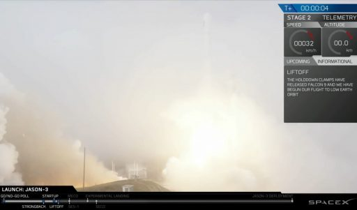 Falcon 9 lifts off in thick fog - Photo: SpaceX Webcast