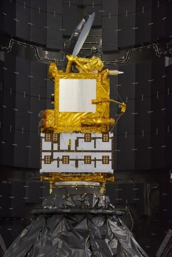 Jason-3 during encapsulation - Credit: NASA Kennedy