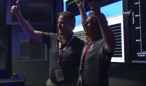 Juno PI Scott Bolton celebrates the successful JOI Maneuver - Photo: NASA TV