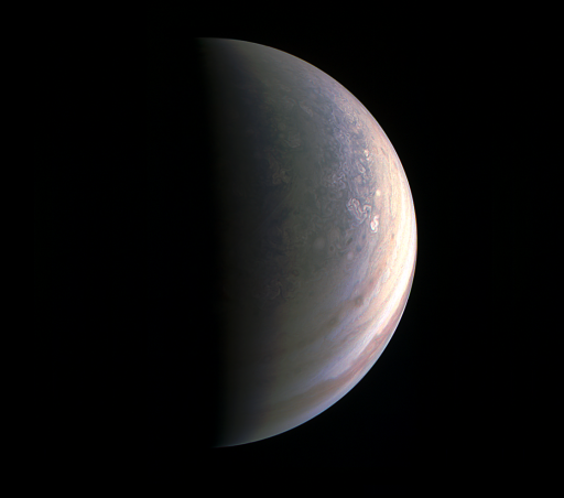 Jupiter's north pole seen during Juno's August 27 approach from a distance of around 195,000 Kilometers - Photo: NASA/JPL/Caltech/MSSS