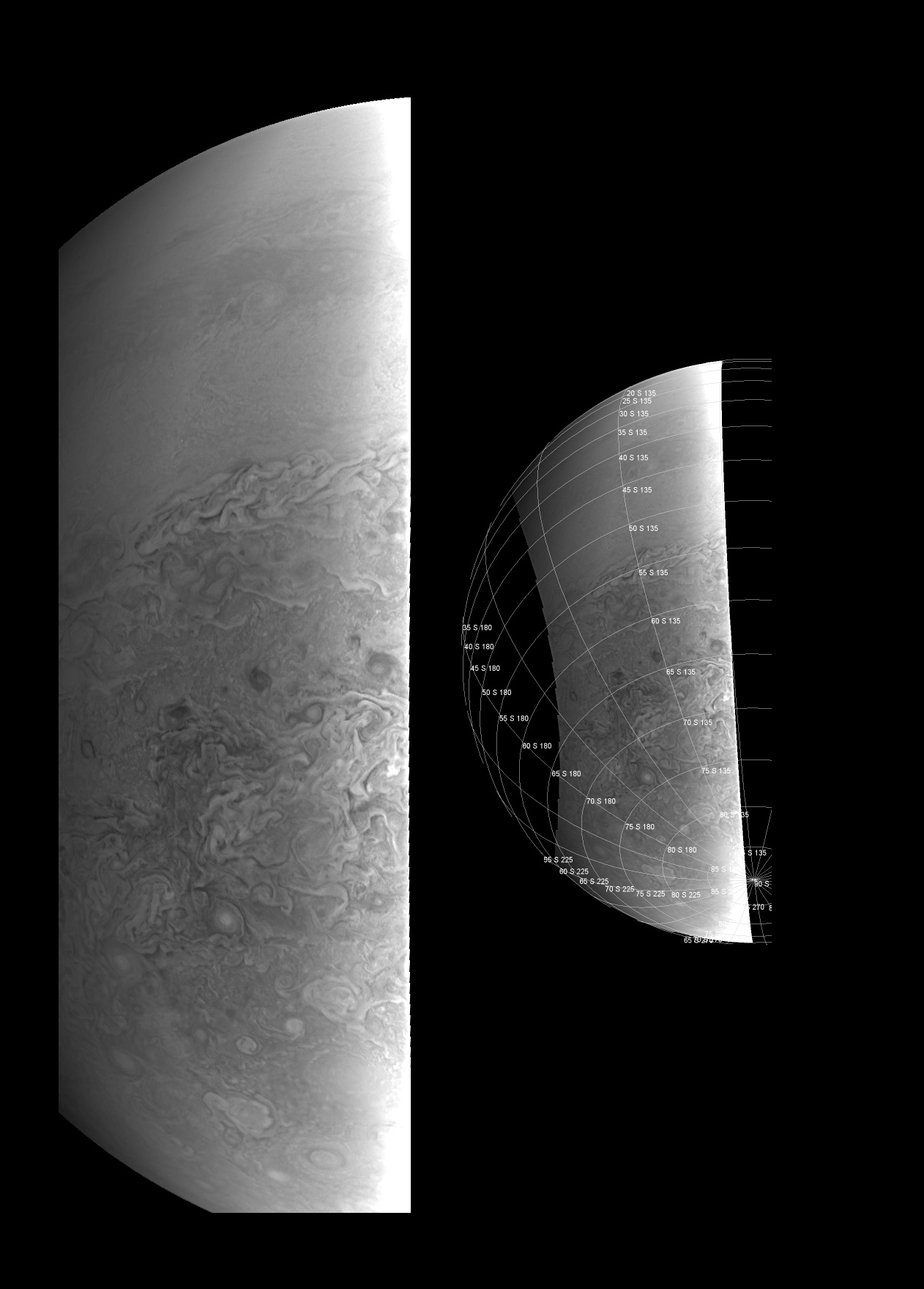 Southern Hemisphere from 38,000 Kilometers - Credit: NASA/JPL-Caltech/SwRI/MSSS