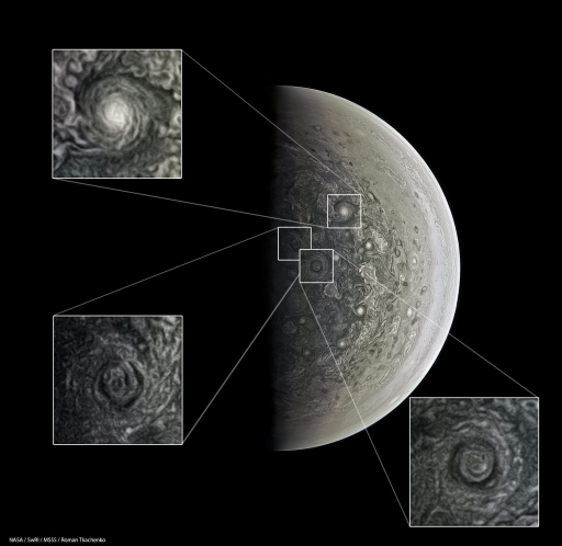 Vortices on Jupiter's South Pole - Credit : NASA/SwRI/MSSS/Roman Tkachenko © cc by