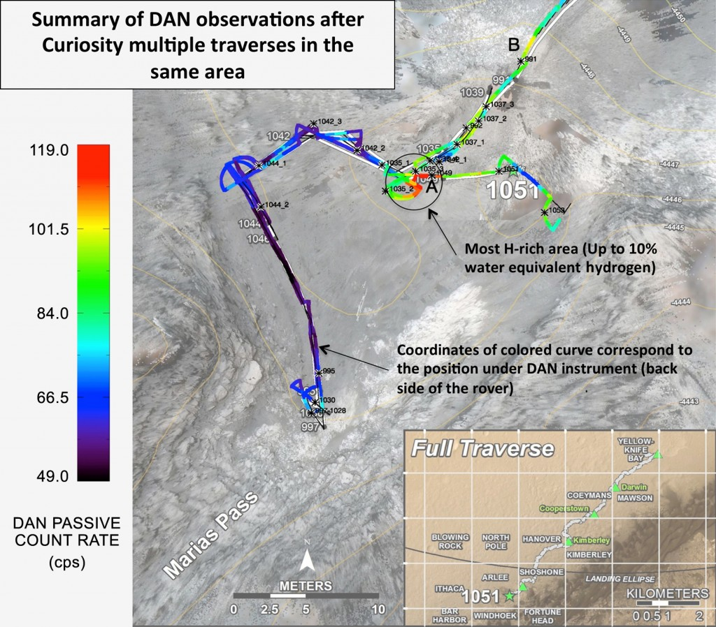 This color-coded map shows Curiosity's Traverse Path around the Marias Pass Area, highlighting the high concentration in hydrogen that so far has been unique to this location. - Credit: NASA/JPL-Caltech/Russian Space Research Institute