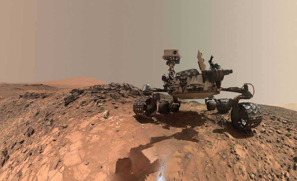 NASA's Curiosity Rover is pictured in this low-angle self-portrait assembled from mosaic images gathered by the MAHLI camera on MSL's robotic arm. This 'rover selfie' taken on August 5 shows Curiosity at the eighth drilling site of the mission known as Buckskin. - Photo Credit: NASA/JPL/Caltech/MSSS
