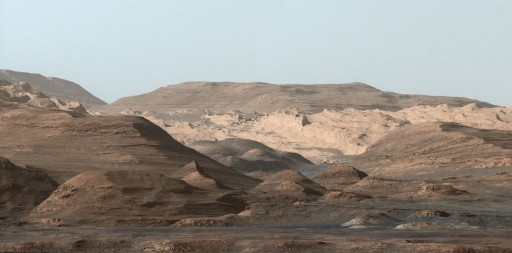Curiosity looks to the higher reaches of Mount Sharp. - Credit: NASA/JPL/Caltech/MSSS