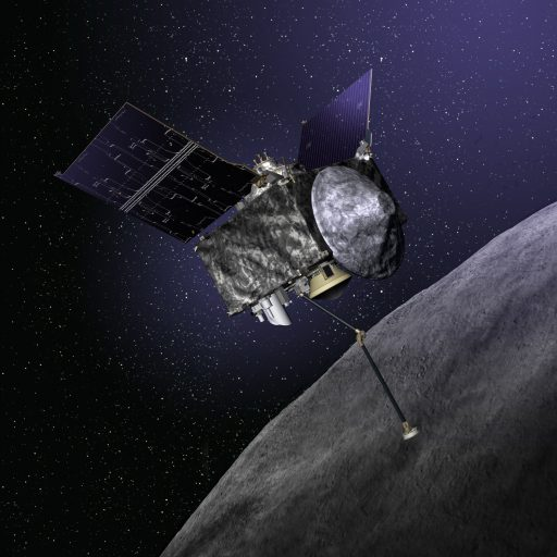Illustration of OSIRIS-REx spacecraft at Bennu