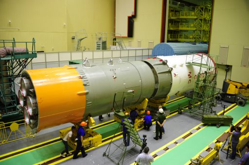 Block I being mated with Progress MS-03 spacecraft - Photo: RSC Energia