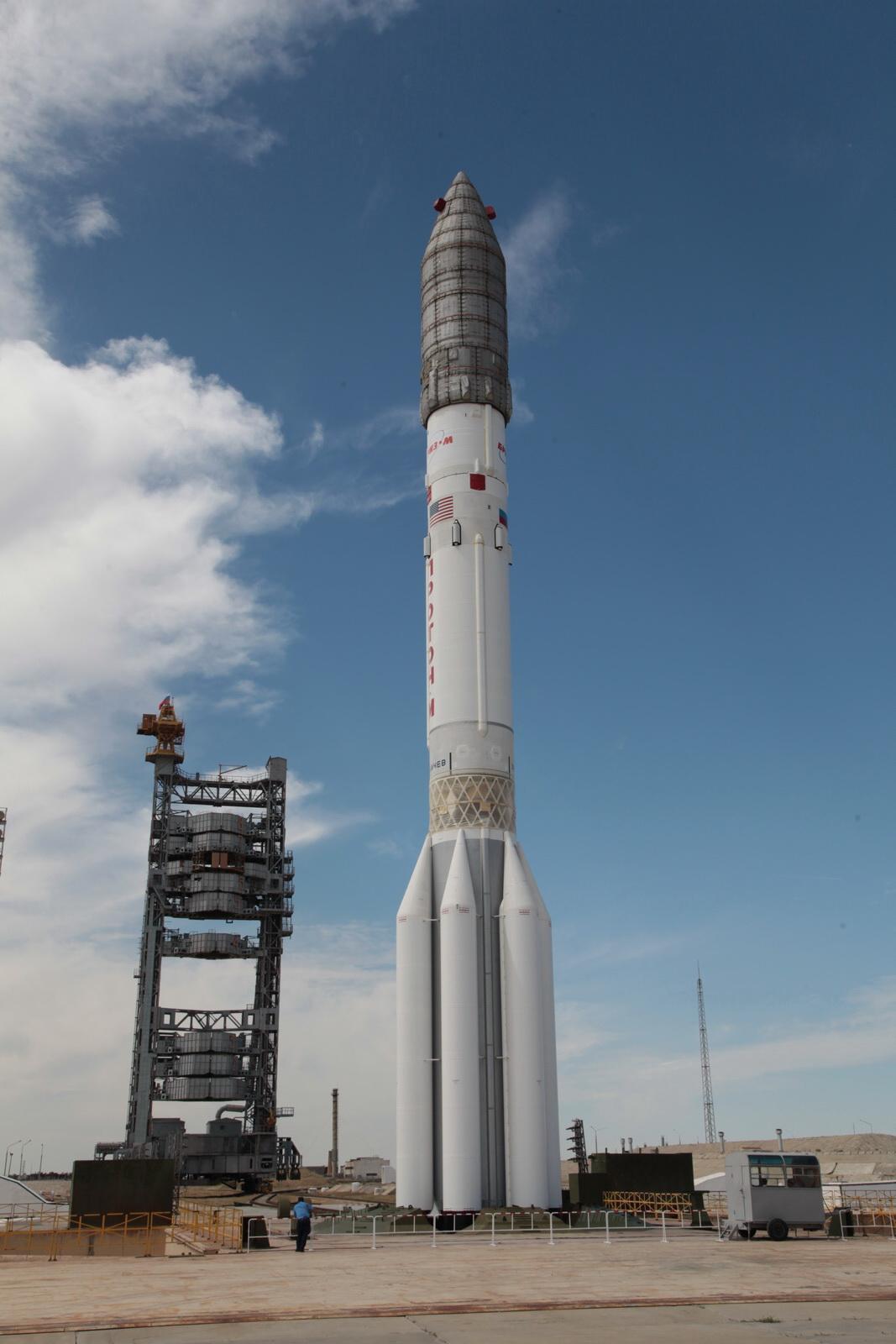 Proton-M Rocket rolls to Baikonur Launch Pad for long Satellite