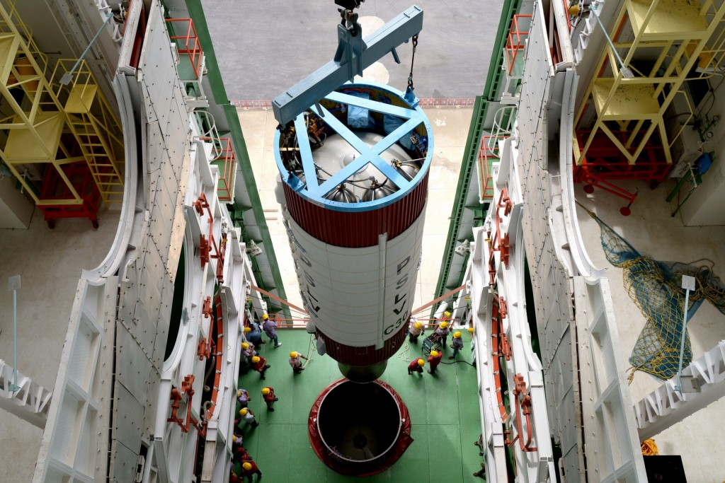 hoisting-of-pslv-c30-second-stage-during-vehicle-integration