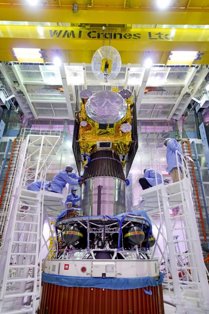 irnss-1espacecraftbeingintegratedwithpslv-c31