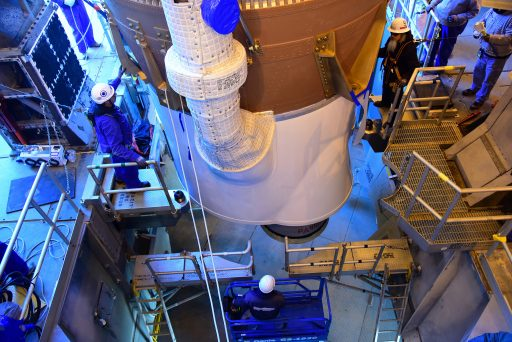 Business end of the Atlas V 401 rocket originally intended to launch NASA's Insight mission to Mars, now being re-purposed for WorldView-4 after Insight's multi-year launch delay. Photo: NASA Kennedy
