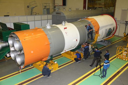 Photo of the Soyuz 2-1B third stage undergoing integration with the Resurs spacecraft - Photo: Roscosmos