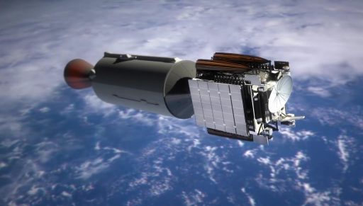 F9 Second Stage with Communications Satellite - Image: SpaceX