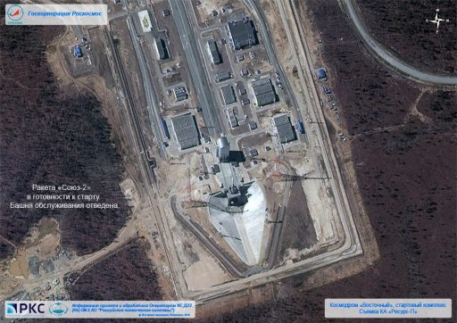 Satellite Photo shows Soyuz on its Launch Pad - Photo: Roscosmos (Click to enlarge)