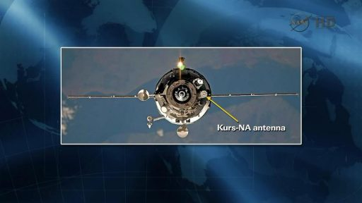 KURS-NA Antenna flying on a Progress spacecraft - Image: NASA TV
