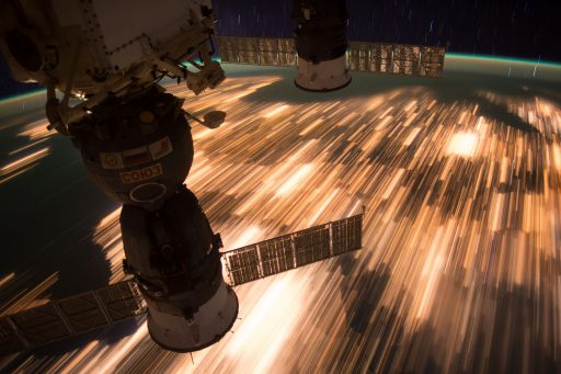 Long Exposure with Soyuz MS-01 in the Foreground - Photo: NASA