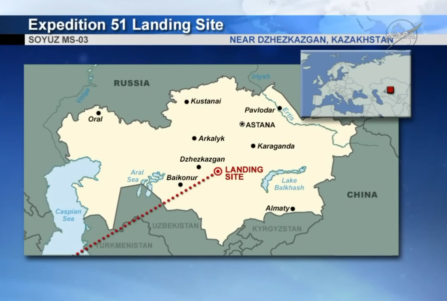 Soyuz Landing Site - Image: NASA TV