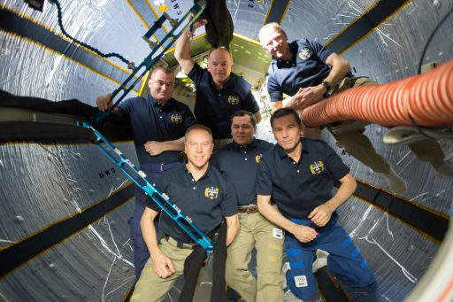 The Expedition 47 crew is pictured inside the BEAM Module recently expanded for a two-year test mission. - Photo: NASA/ESA