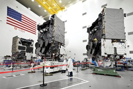 WGS Satellites under construction at Boeing - Image: Boeing Space Systems