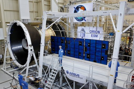 Orion ESM Solar Array Deployment Test - Photo: Airbus Defence and Space