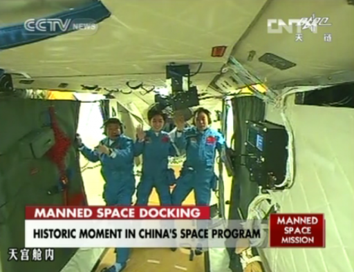 Shenzhou-9 Crew entering the Tiangong-1 Spacecraft - Photo: CCTV