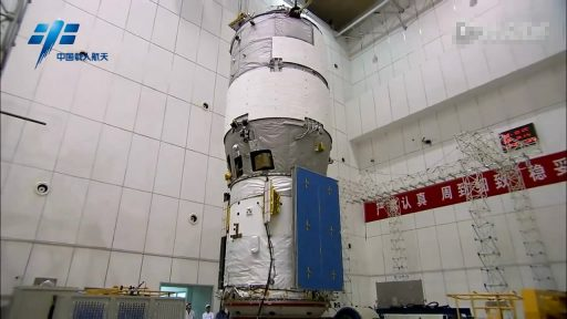 Tiangong-2 during final launch preparations - Photo: China Manned Space Engineering Office, via ChinaSpaceflight.com