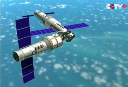 China's Robotic Arm relocates a Space Station Module - Image: CCTV