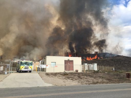 Firefighters protecting the Liquid Nitrogen facility - Photo: San Luis Obispo Fire Department