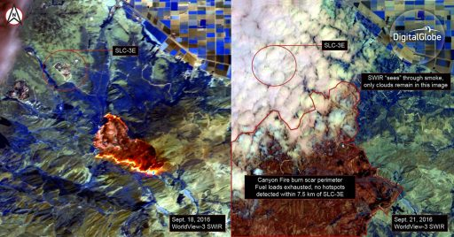 WorldView-3 Imagery of the Canyon Fire in the Short-Wave Infrared Band on Sept. 18 and 21 - Credit: DigitalGlobe