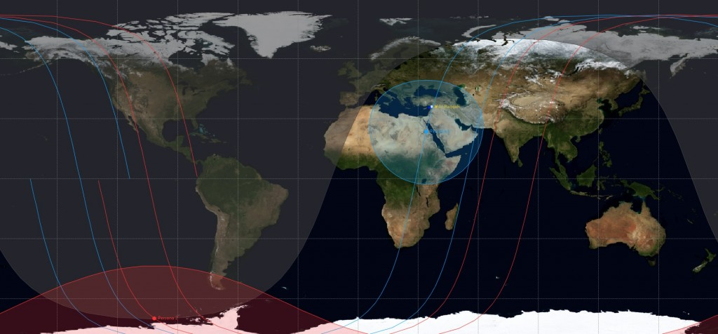 Orbital Setup of Persona 2 & 3 - Image: Spaceflight101.com/JSatTrak