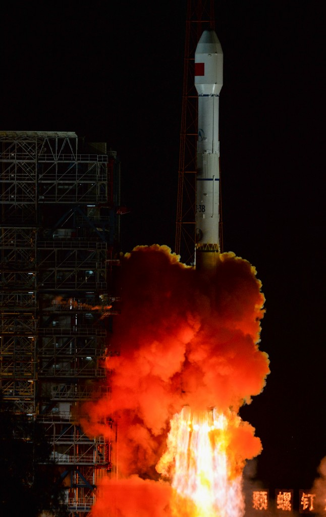 Long March 3B with Experimental Communications Satellite - Credit: Xinhua