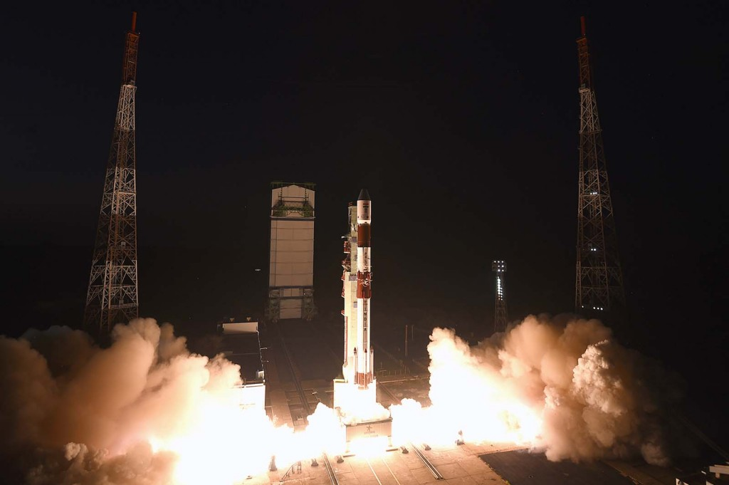 PSLV with TeLEOS-1 and others - Credit: ISRO
