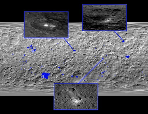 Distribution of bright areas across Ceres - Credit: NASA/JPL-Caltech/UCLA/MPS/DLR/IDA