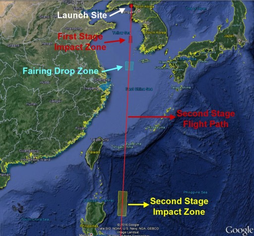 Navigational Warnings posted by North Korea ahead of the planned February 2016 Launch