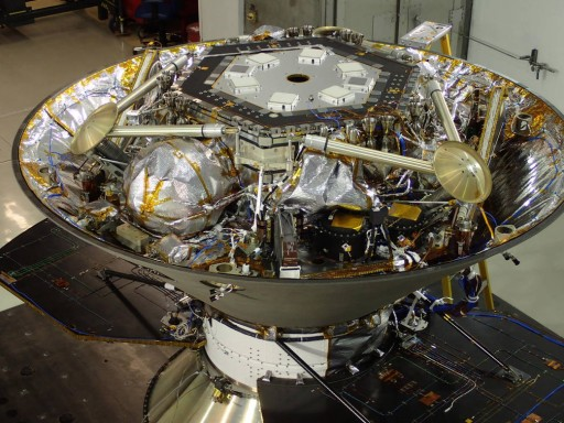 The InSight lander in its cruise stage configuration prior to undergoing acoustic testing at Lockheed Martin.
